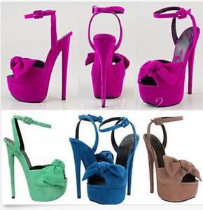 Ladies High Heel Platform Sandals Faux Suede Bowknot Stiletto Pumps Shoes Party