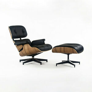 2021 Herman Miller Eames Lounge Chair and Ottoman 670 671 Black Leather & Walnut