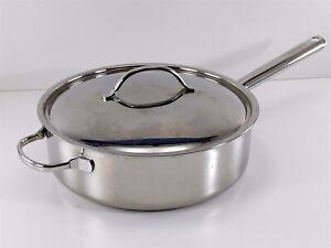 Cuisinart Stainless 5.5 Quart Sauté Pan w/ Helper Handle Lid #933-28H