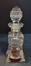 Antique Pressed Glass Perfume Cologne Bottle Diamond Panel Glass Pattern
