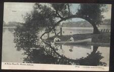 Postcard FT FORT WAYNE Indiana/IN  Artistic Lake Boat & Curved Tree Scene 1907