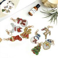 Christmas Xmas Gift Keyring Pendant Toy 8Pcs DIY 5D Diamond Painting Keychain