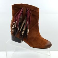 f669da6f377a Features  Lace-Up. Matiko Jill Ankle Boots Size EU 37   US 6 Suede Rust  Multi Color Fringe Low