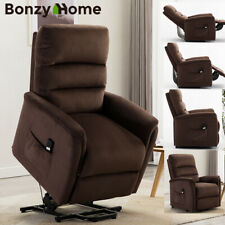 Electric Power Lift Recliner Velvet Fabric Padded Soft Remote Control Free Angle