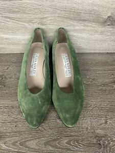Ladies Laura Ashley shoes size 4 Eu 36, olive green suede. Worn once.
