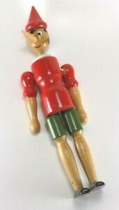 """Vintage Wooden Pinocchio Wooden Jointed/Articulated 12"""" Doll Hand-painted"""