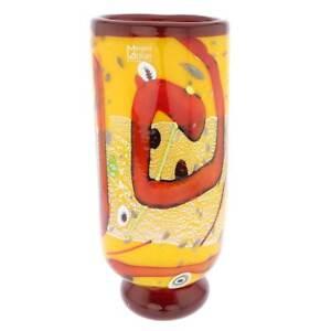 GlassOfVenice Murano Glass Modern Art Vase - Yellow