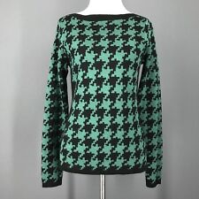 LIMITED Sweater XS Green Black Emerald Green Boat Neck Houndstooth