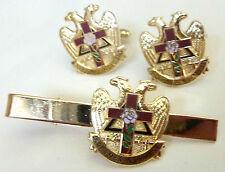 Scottish Rite ROSE CROIX Masonic Freemason TIE BAR CLIP CUFFLINKS CUFF LINKS