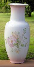 Pretty Vintage Decorative Tall Porcelain Vase *Cream & Pink Floral