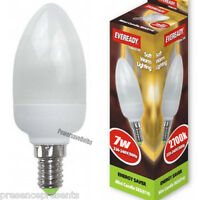 4 PACK x EVEREADY CFL 7w CANDLE LIGHT BULB ENERGY SAVING SES E14 SMALL SCREW CAP