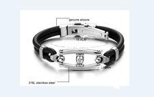 Clip Men's Women Gift Present Titanium Black Silicone Bracelet Punk Style
