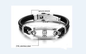 Titanium Black Silicone Bracelet Punk Style Clip Men's Women Gift Present