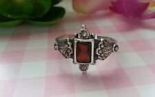 Beautiful Ring Sterling Silver 925 Red Garnet CZ Marcasites Size 5 &6 &7 &9 D68