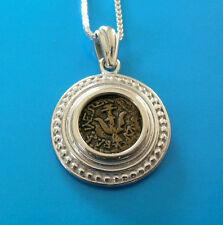 widow's mite coin replica set in elegant silver pendant  with chain