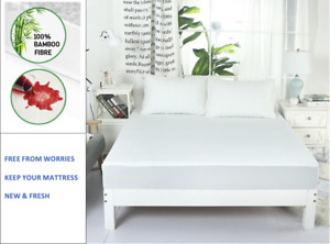 Fully Fitted Waterproof Bamboo Terry Mattress Protector, S/D/Q/K Sizes