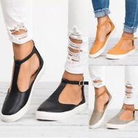 Ladies Womens T-Bar Espadrilles Pumps Flat Buckle Sandals Casual Shoes Size New