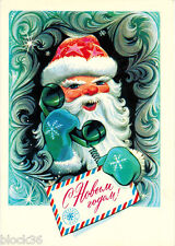 1975 Russian NEW YEAR postcard Santa with Greetings Letter talks on the Phone