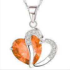 Fashion Women Heart Crystal Rhinestone 925 Silver Chain Pendant Necklace Charm