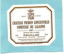 PAUILLAC 2E GCC ETIQUETTE CHATEAU PICHON LONGUEVILLE COMTESSE 1987 75 CL §04/10§