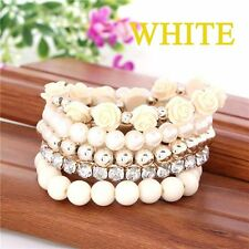 Rhinestone Alloy Resin Stretch Bracelet Mix Flower Beads Temperament Fashion