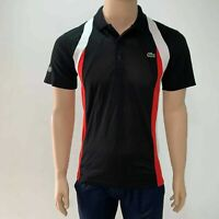 Lacoste Sport Hommes Colourblock Tennis Polo Petit Black Groseille Rouge Bush