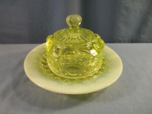 Mosser Vaseline Opalescent Glass Eyewinker Covered Round Butter Cheese Dish
