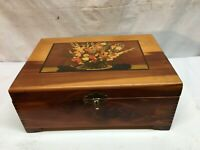 Vtg Cedar Wood Hope Treasure Jewelry Box Stash  Floral Litho on top