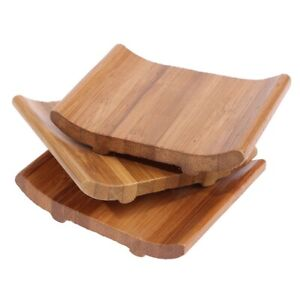Nutural Bamboo Soap Holder Dish Tray Stylish Vintage Storage Teacup Mat