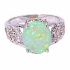 Green Fire Opal White Zircon 925 Silver Filled Ring Wedding Jewelry Size 6-10