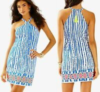 Lilly Pulitzer Iveigh Shift Dress Womens XS Blue White Striped Zipper Cotton New