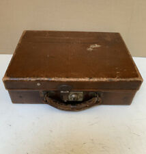 Small Vintage Brown Board Suitcase 'Flaxite Foundation' Leather Handle No Key