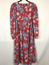 Vintage 80s Laura Ashley Floral Prairie Dress 100% Cotton Size US 8 UK 10