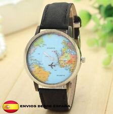 Reloj World Traveler mapa mundial avión retro vintage unisex color NEGRO