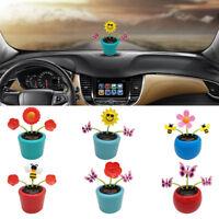 FJ- JN_ Solar Power Flower Car Dashboard Interior Ornament Home Decoration Gift