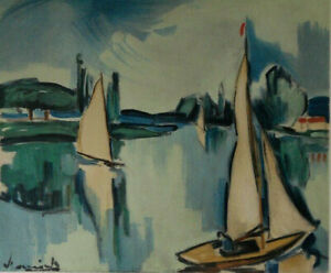 Maurice of Vlaminck: Sailboats On The Seine - Lithography Signed, 1958, 2000ex