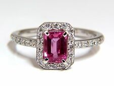 1.78ct natural vivid pink sapphire diamonds ring 14kt halo classic