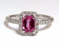1.78ct natural vivid pink sapphire diamonds ring 14kt halo classic