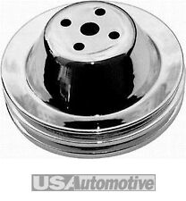 Chrome SB Chevy 283-350 V8 Double Groove Water Pump Pulley - SWP upper, R9601