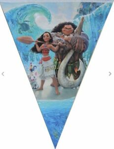 MOANA MAUI BANNER BUNTING 10 FLAG PENNANT BIRTHDAY PARTY LOLLY LOOT BAG HAPPY