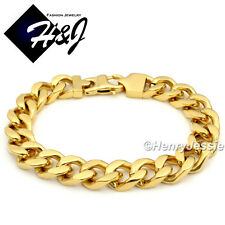 "7.5-11""MEN Stainless Steel HEAVY WIDE 11x5mm Gold Cuban Curb Link Chain Bracelet"