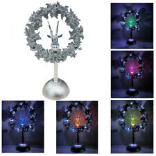 Stag Head in Wreath Christmas LED Light Up Color Changing Ornament Decoration