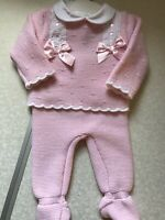 Spanish Knitted 0-3 3-6 Mths Baby Romper Girls All in One Baby Pink Ribbons Lace