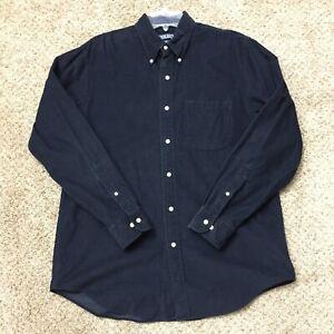 Lands End Mens Medium Reg Blue Corduroy Long Sleeve Button Front Shirt