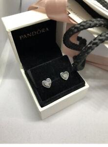 Pandora Pop Up Box & Gift Wrap With Pandora Logo Heart Earrings S925 Ale