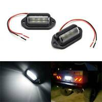 2PCS Waterproof Car License Plate Lamp 12V 6 LED For Boat Truck Trailer
