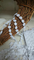 """~Bows Ribbon and Lace~ 10mm/3/8"""" White Miniature Daisy Chain Guipure Lace Trim"""