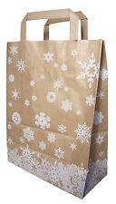 250 Papiertragetaschen Papiertüten braun Weihnachten Schneekristall