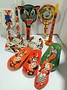 12 Vintage US Metal Toy Co Halloween Noisemakers Witch Owl Black Cat Clown Scare