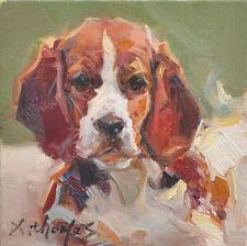 """Original oil painting The pet dog art portrait canvas 6 x6 """"artist signed"""
